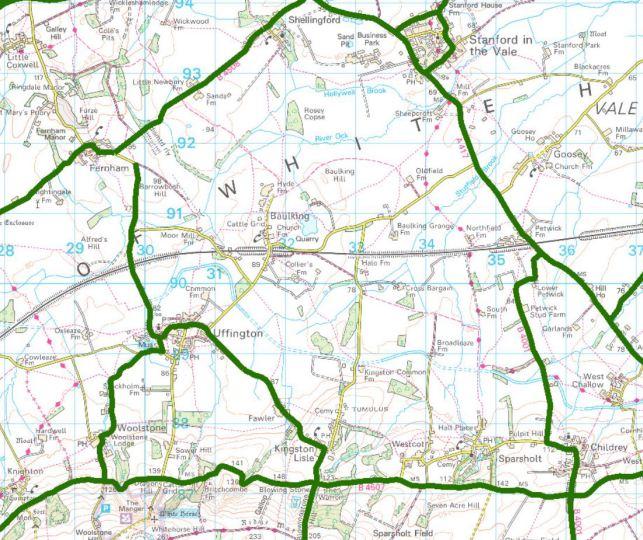 Gritting routes around Uffington