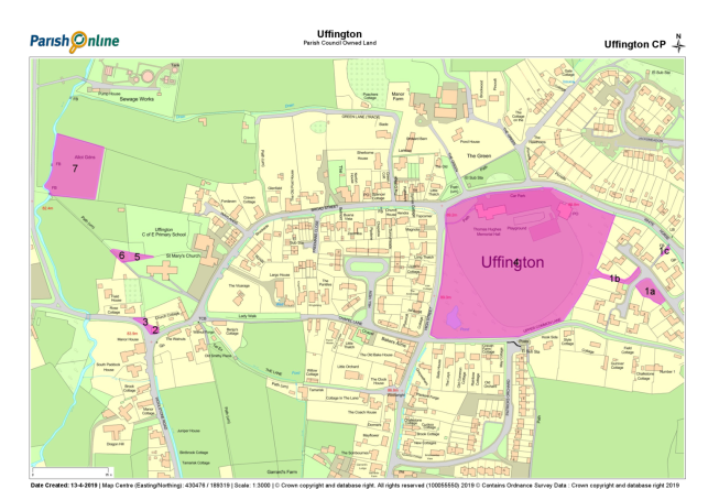 Map Showing parcels of land owned by the Parish Council