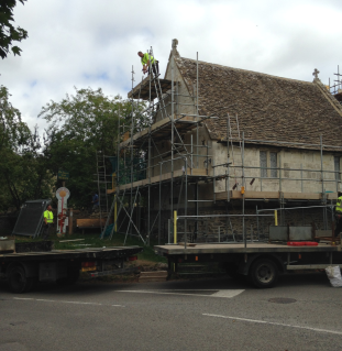 Extensive scaffolding was needed