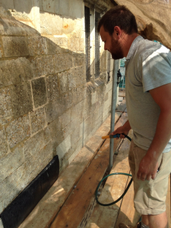 Keeping the new mortar cool and damp