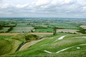 Dragon Hill - Viewed from above the White Horse looking north