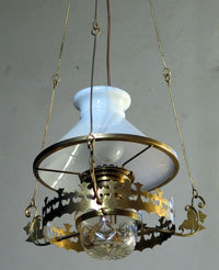 One of the converted oil lamps
