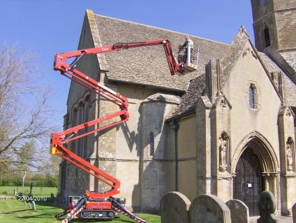 Maintenance being carried out on church
